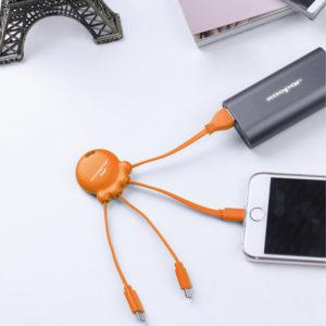 2076 pomarańczowy Octopus adapter ładujący nadruk